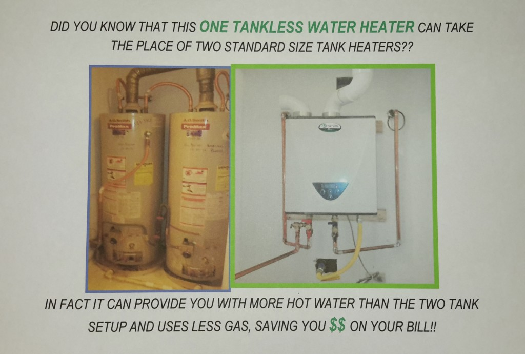 Tank water heater setup verus tankless water heater setup